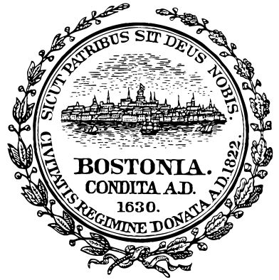 """Illustration: official city seal of Boston, Massachusetts. Credit: Wikipedia. Read more on the GenealogyBank blog: """"List of 86 Online Boston Newspapers to Trace Your Family Roots."""" http://blog.genealogybank.com/list-of-86-online-boston-newspapers-to-trace-your-family-roots.html"""