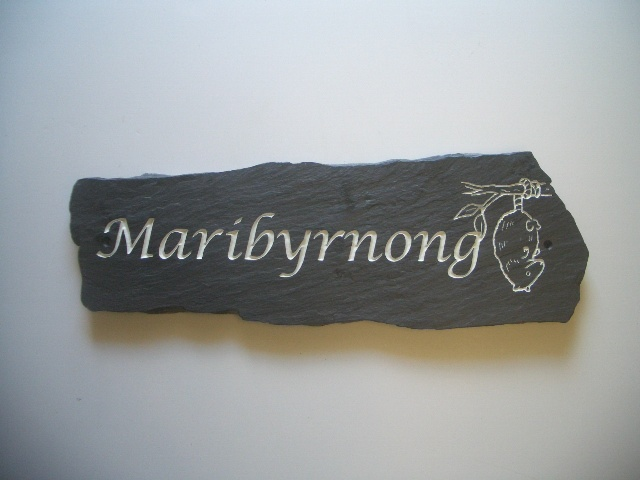 Rustic Slate house plaque. Made from recycled Welsh slate, engraved and painted with enamel paint.