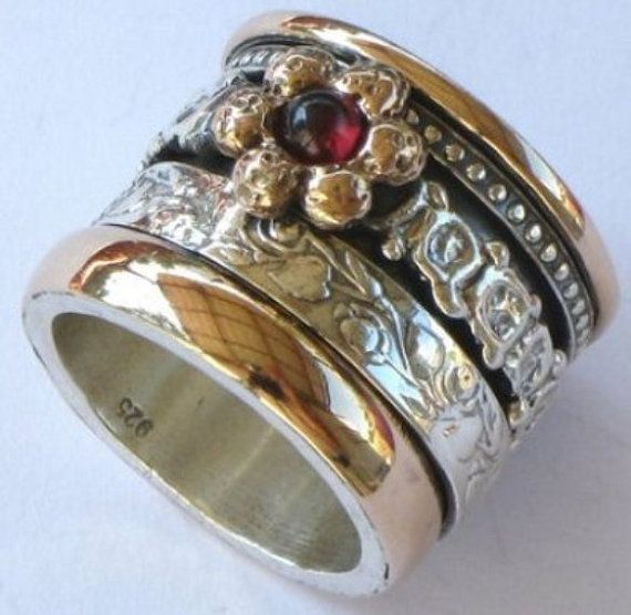 Spinner ring Romantic Floral  silver gold designer jewelry Israeli rings Meditation ring via Etsy