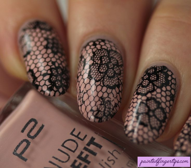 Painted Fingertips   Nude Lace Nail Art