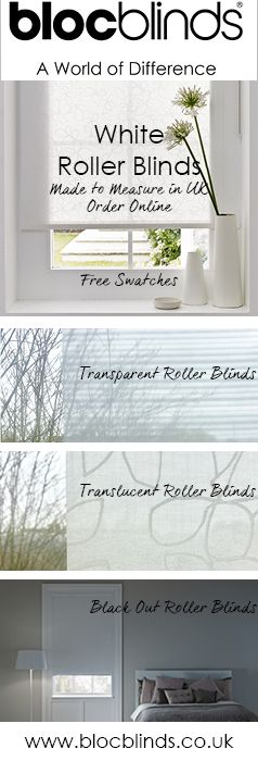 Bloc Blinds offer a wide range of made to measure white roller blinds to suit every room in your house. Order fabric swatches for white window blinds  today.