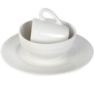 "Bulk White Ceramic Bowls with Beaded Accents, 6"" at DollarTree.com"