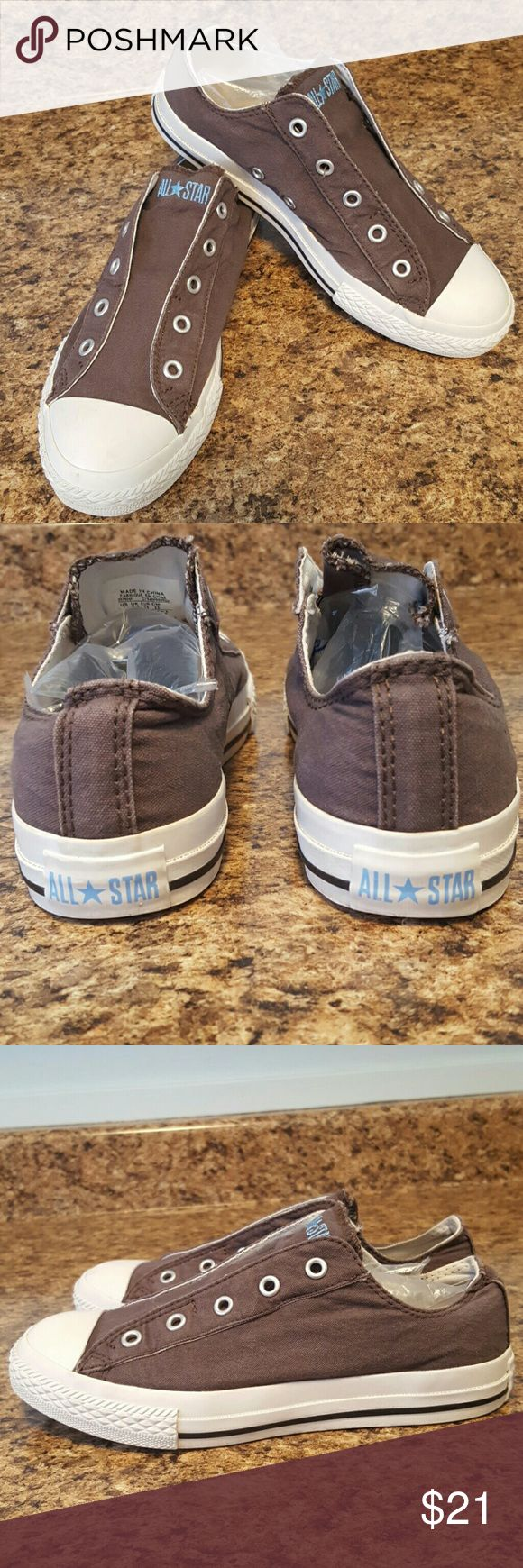 CONVERSE Slip Ons Taupey-grey with light blue accents logo. Classic lows with elastic for easy slip on/off. Pre loved in nice condition, nothing major going on, just normal wear. Cute! I ship fast! Converse Shoes Sneakers