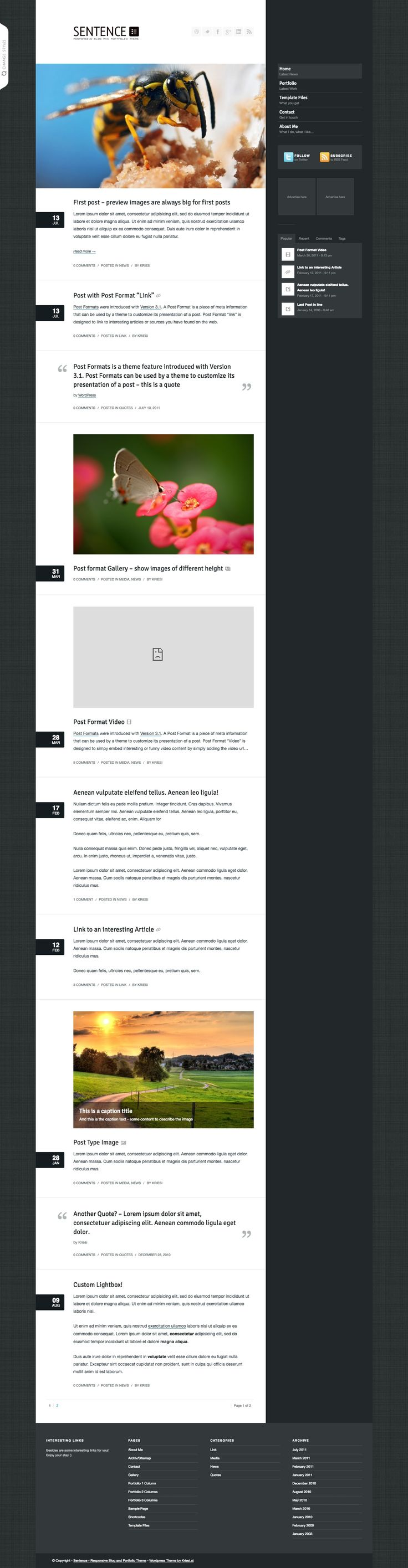 Sentence is a responsive Blog and Portfolio Theme
