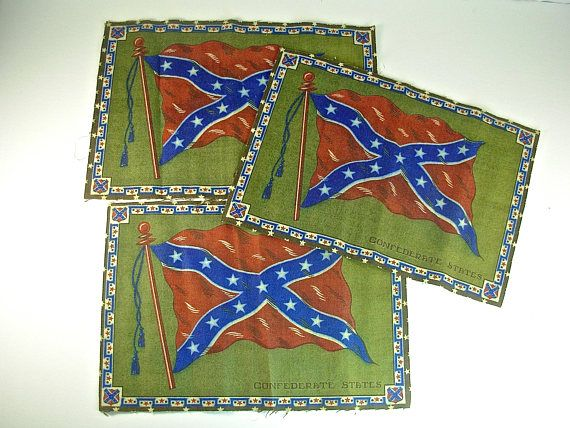 3 CONFEDERATE STATES FLAG Tobacco Insert Flannel Quilt