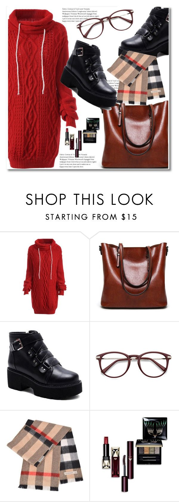"""Last minute trip"" by aida-nurkovic ❤ liked on Polyvore featuring Burberry, Clé de Peau Beauté, Elegant, women and rosegal"