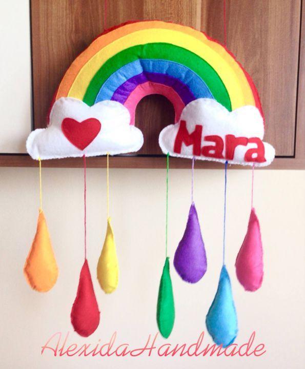 "Banner / Ghirlanda / Decoratiune / Nume fetru ""Rainbow Dream"""