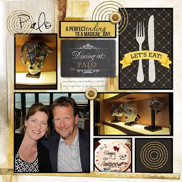 Disney Scrapbook Page Layout - Dining at the Adult Only Palo Restaurant