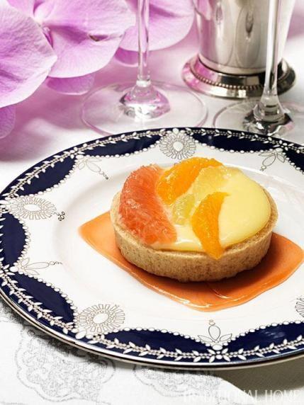 Tarte au Citron: Meyer lemon curd, seasonal citrus, key lime sorbet from NYC's Crown Restaurant