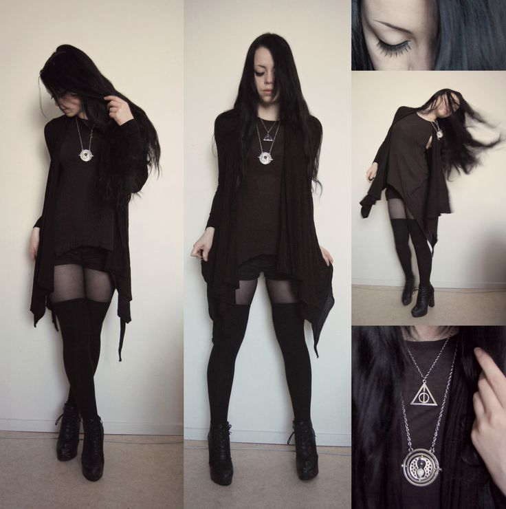 "nikolinex: ""(...) Cardigan from Primark Tank top and thigh highs from H&M Shorts of unknown origin Shoes from Din sko Awesome time turner and deathly hallows necklaces from Ebay"""