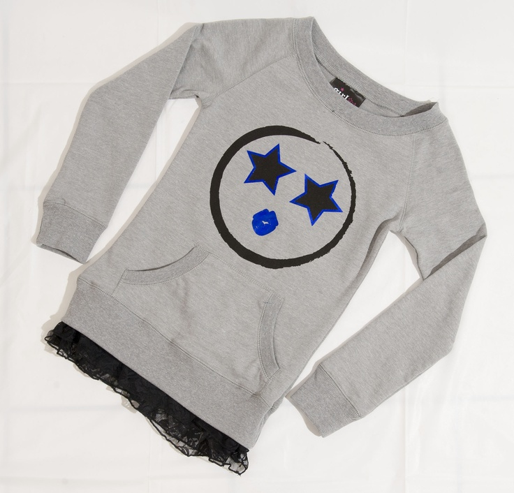 CHEEKY: Grey sweater with star smiley face and lace trim by Girl Confidential, $19.99 at Sears.com (sizes 7-16). Enter to win a $ 500 shopping spree with @TheProvince and Brentwood Town Centre: http://theprov.in/pinandwin #backtoschool