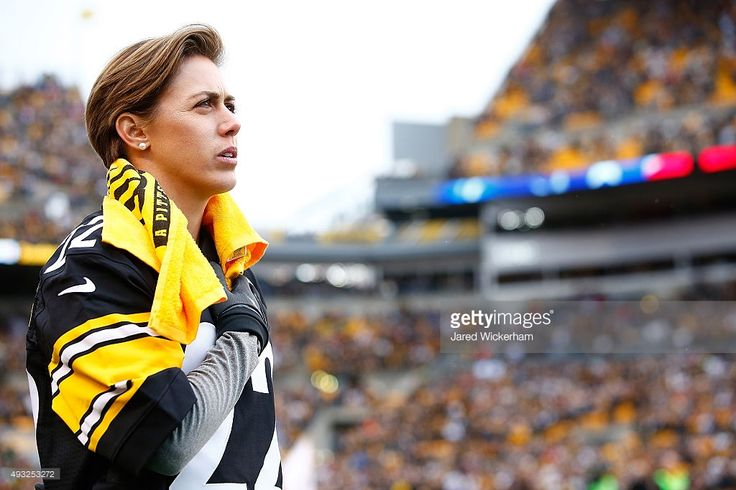 Megan Klingenberg of the United States National Soccer team stands for the National Anthem before the start of the game between the Pittsburgh Steelers and Arizona Cardinals at Heinz Field on October 18, 2015 in Pittsburgh, Pennsylvania.