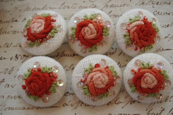 6 Ombe Rusty Peach Handmade Embroidered MOP Buttons Vintage Doll Dress Purse Collage Sewing Dress Trim