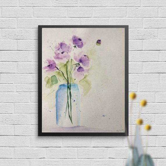 ORIGINAL AQUARELL Aquarellmalerei Blumen Bild Unikat Art | Etsy