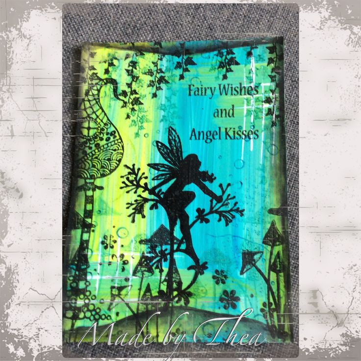 Acrylic paints background with Lavinia stamps...