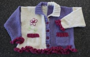 Tabitha's Cardigan was made for a friends daughter in pure wool.