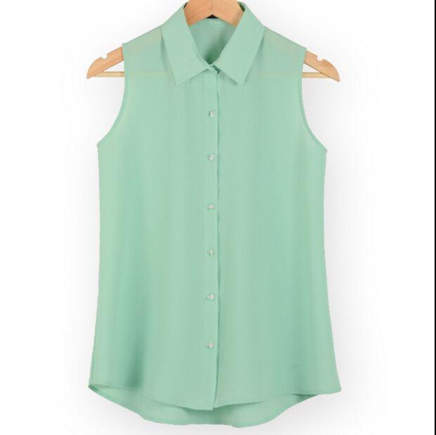 Nieuwe mode werkkleding kantoor tops blouses Zomer turn down mouwloze vrouwen chiffon overhemd slanke shirts kleuren vrouwelijke camisa vest