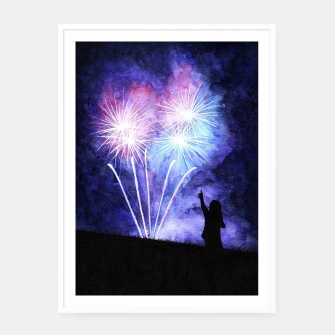 Blue and pink fireworks Framed poster, Live Heroes