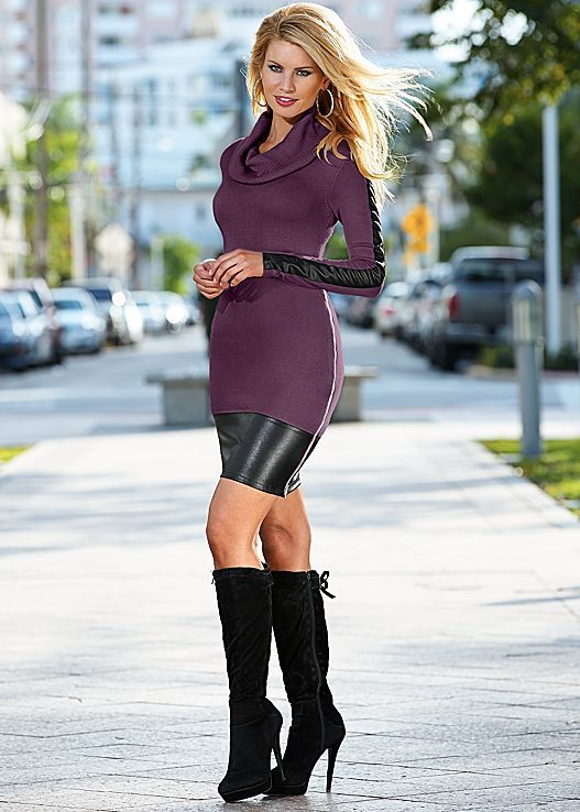 This dress introduces sweater to leather. Venus faux leather sweater dress with Venus tie back boot.
