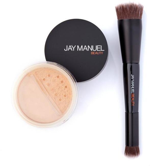 Jay Manuel Beauty Powder to Cream Foundation with Kabuki Brush - Medium Brown