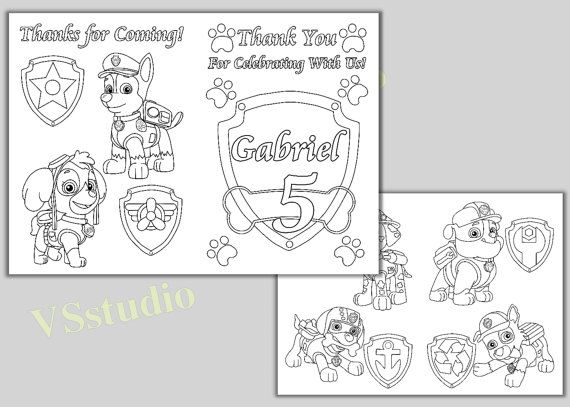 Nick Jr Coloring Pages Pdf : Paw patrol birthday party thank you coloring pages