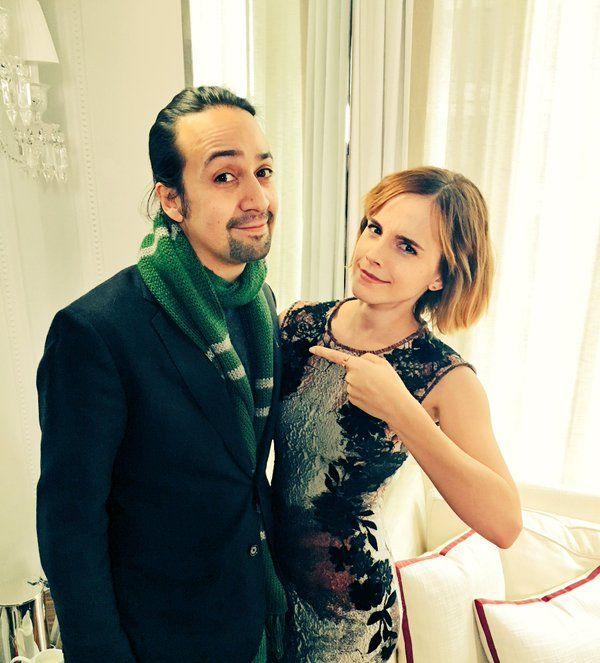 Emma Watson met Lin-Manuel Miranda (from Hamilton). They talked about HeForShe & joked about Lin-Manuel Miranda's Slytherin scarf.