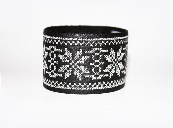 Ethnic Embroidered Leather Bracelet  Black and by EtnoWareStore