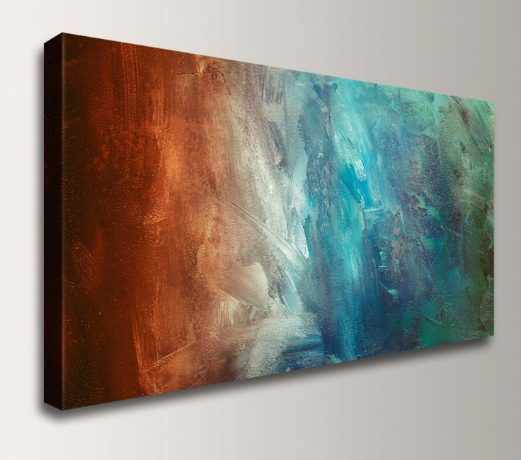 Panoramic Art, Abstract Painting Reproduction - Canvas Print - Turquoise /  Teal, Red / Rust Wall Decor,