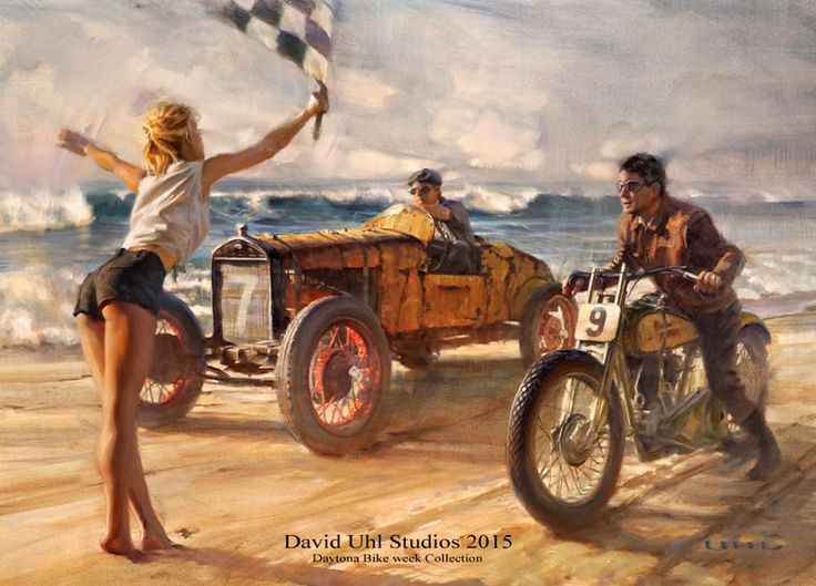 David Uhl S Daytona Beach Motorcycle Race Art Hot Rods Bikes