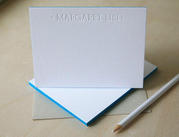 Letterpress Edge Painted Notecards - Margaret Custom Stationery
