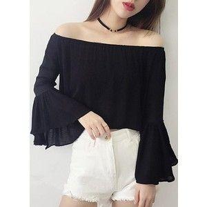 Open Back Flare Sleeve Black Blouse