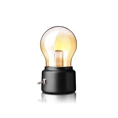 Huluwa Light Bulb Bedside Lamp, Creative Retro Night Light, USB Rechargeable LED Desk Lamp, Energy Saving & Elegant for Bedroom Bedside Desk Lighting, Black