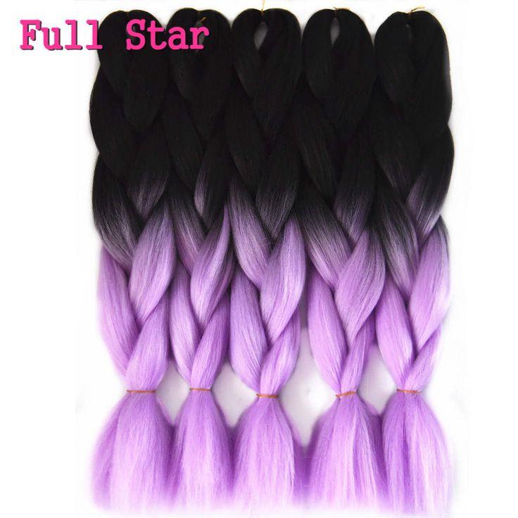 "3 Packs Braiding Hair 24"" 100g Black&Light Full Star black  PurPle Ombre Lavender  Jumbo Box Senegalese Twist Braiding Hair"