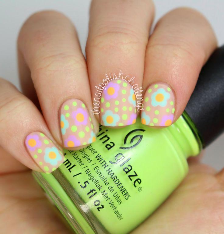 the nail polish challenge: China Glaze Nude Floral Nail Art