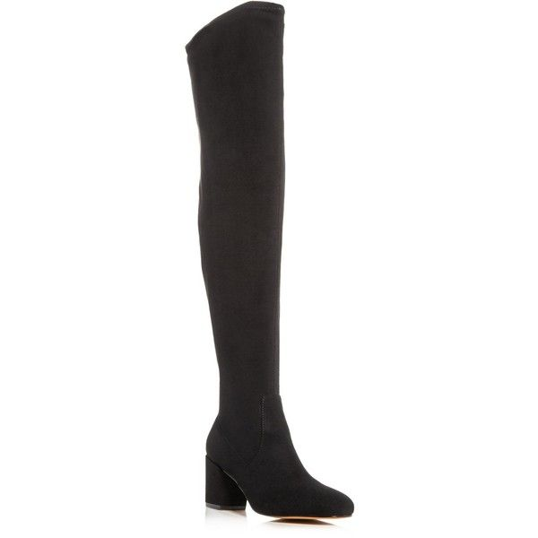 Rebecca Minkoff Lauren Over The Knee Boots ($265) ❤ liked on Polyvore featuring shoes, boots, black, above knee boots, black side zip boots, over knee boots, black boots and thigh boots