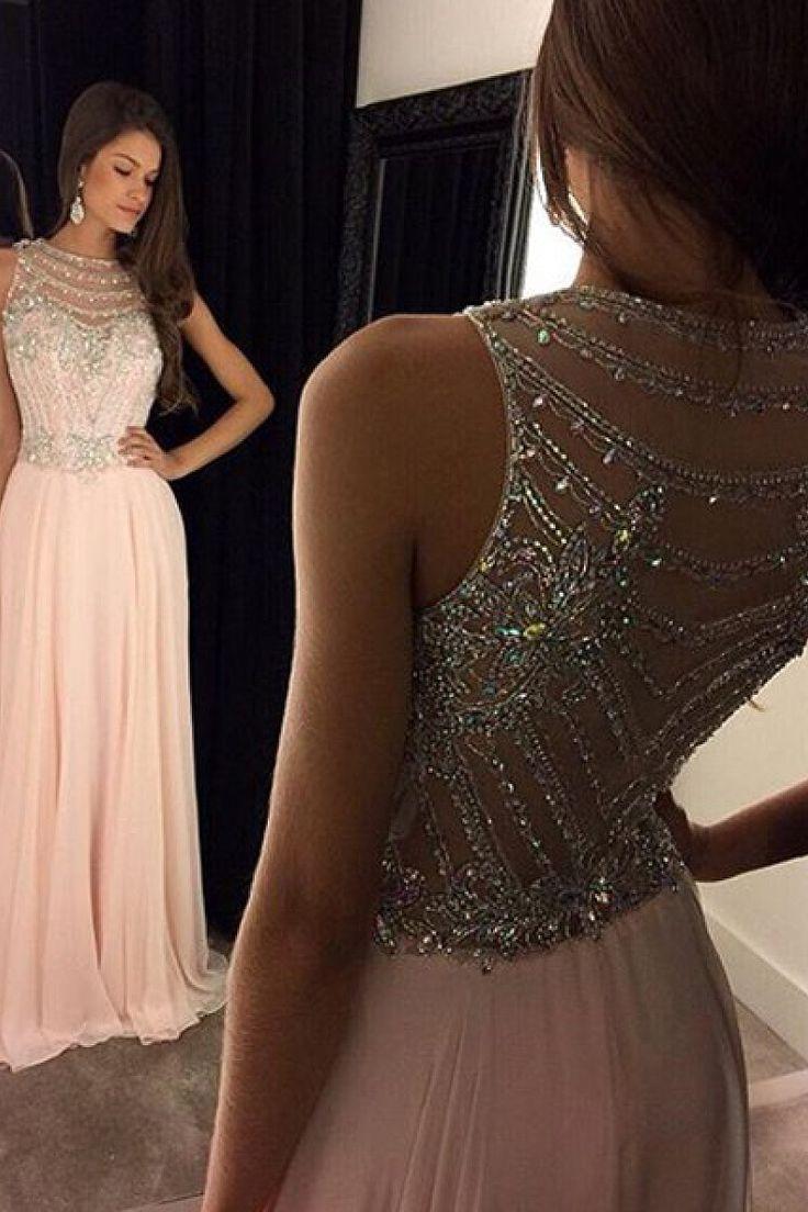 Shining A-line Zipper Up at Side Natural Floor-length Prom Dresses - by OKDress UK