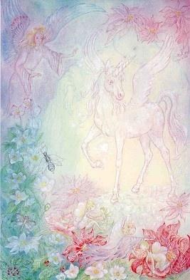"""""""The White Unicorn""""    Zo heb ik ook eens in opdracht van kunstgeschiedenis een eenhoorn met vleugels getekend i.v.m. dat je een tekening moest maken vanuit de geschiedenis """"Mesopotamie""""  Alleen deze is afgekeurd door de docent, omdat hij dus zei dat een eenhoorn met vleugels NIET bestaat. Waarom kon ik dan wel vaker  tekeningen van eenhoorns tegen met een hoorn op het voorhoofd en met vleugels???"""