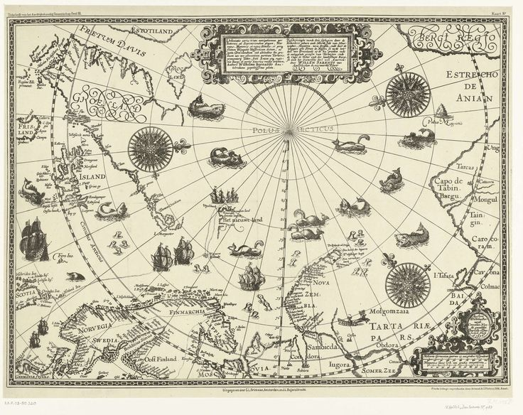 Kaart van de landen rond de poolcirkel met de drie reizen van de Nederlanders, 1598, Arnaud A.J. Pistoor, Baptista van Doetechum, Willem Barendsz, 1878