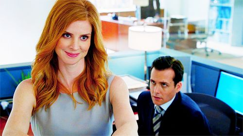 I love how you can tell from this picture that Donna is so obviously in control of everything.  Donna Paulsen & Harvey Specter - SUITS