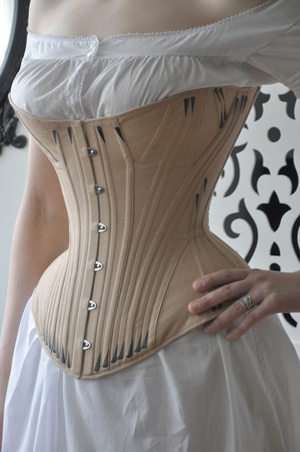 Gored 1870s corset with flossing.  Beautiful silhouette and hip spring!