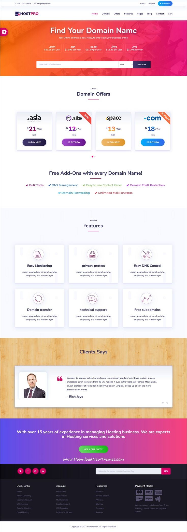 HOSTPRO - WHMCS & HTML Responsive Professional Clean and Creative ...