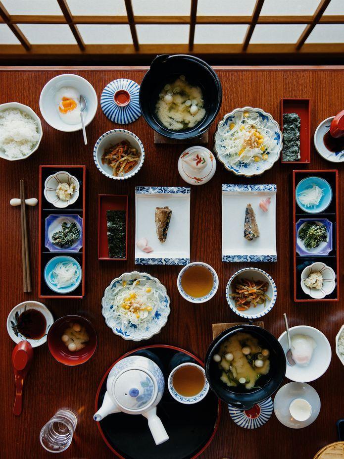 Frühstück in der Pension Kiriya Ryokan in Nozawa Onsen