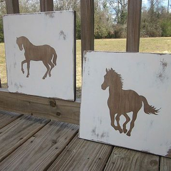 Horses - Western Nursery - Distressed Rustic Wood Wall Art - Painted Sign decor, Walnut Stain, Horse Lover, Western Room, Cowgirl, Cowboy