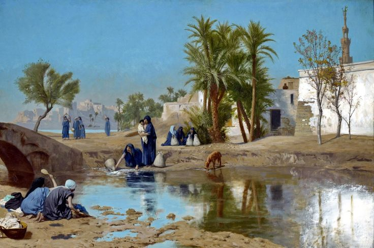 Egypt , Old Cairo Paintings: Fellah Women Drawing Water - Jean-Léon Gérôme ,French ,1824–1904