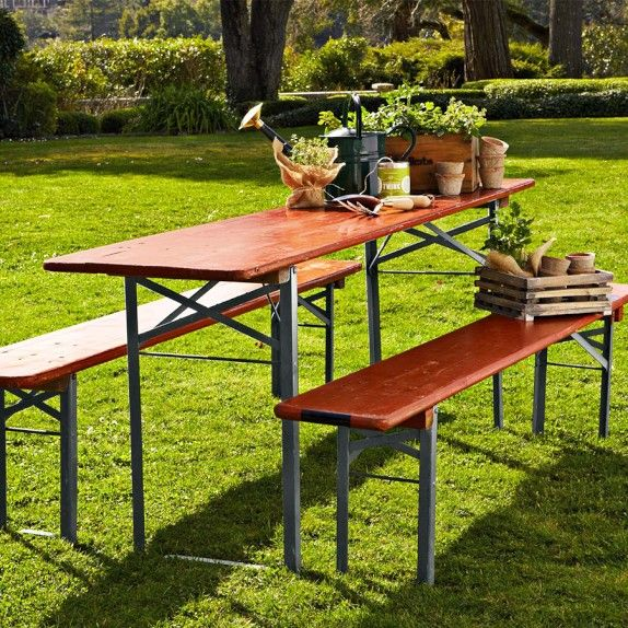 Marvelous Nice Outdoor Picnic Table That Folds Away To Store   Vintage Biergarten  Table