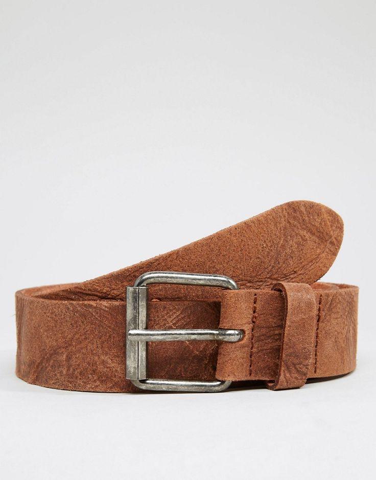 Imagen 1 de Cinturón de cuero con acabado vintage de ASOS