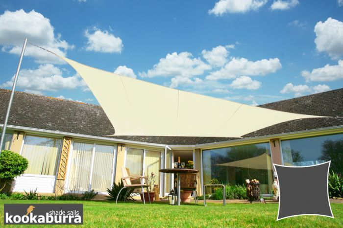 Kookaburra® 5.4m Square Ivory Waterproof Woven Shade Sail PRIMROSE.CO.UK - this comes as a square and is waterproof so might be the best option for the patio. Furniture will go underneath and stay dry