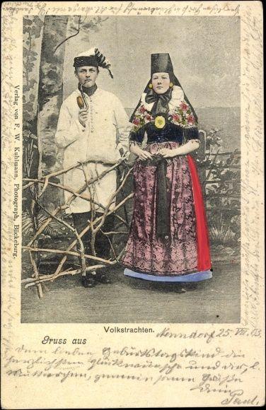 Ansichtskarte / Postkarte Gruß aus Bad Nenndorf, Schaumburg Lippe, Volkstrachten, Paar #oesterten