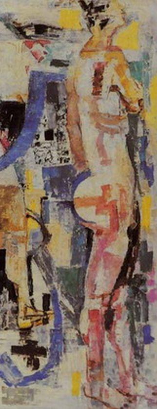 Painting by Fausto Pirandello, 1960, 'Bagnanti nella rifrazione', oil on canvas. (detail)