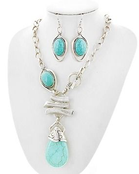 Burnished Silver Tone Turquoise Teardrop  toggle Closure Necklace Earring Set